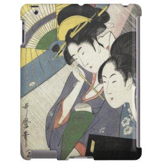 Two Women Under an Umbrella Kitagawa Utamaro art