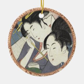 Two Women Under an Umbrella Kitagawa Utamaro art Round Ceramic Ornament