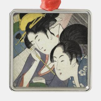 Two Women Under an Umbrella Kitagawa Utamaro art Silver-Colored Square Ornament