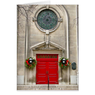 Two Wreaths and Red Door/Holiday Greeting Card