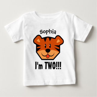 Two Year 2nd Birthday Boy or Girl with Tiger V08 Baby T-Shirt