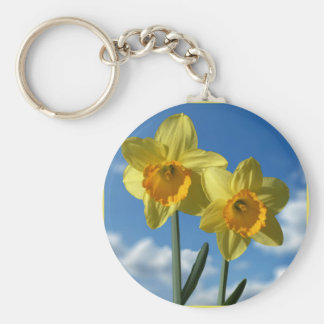 Two yellow Daffodils 2.2 Basic Round Button Keychain