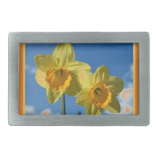 Two yellow Daffodils 2.2 Rectangular Belt Buckle