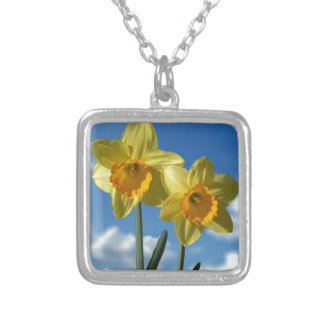 Two yellow Daffodils 2.2 Silver Plated Necklace
