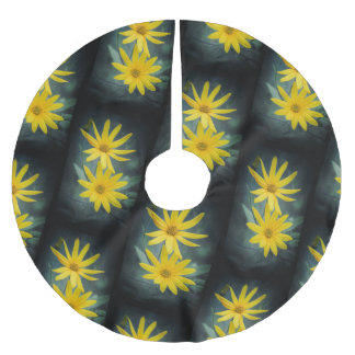 Two yellow flowers of Jerusalem artichoke Brushed Polyester Tree Skirt