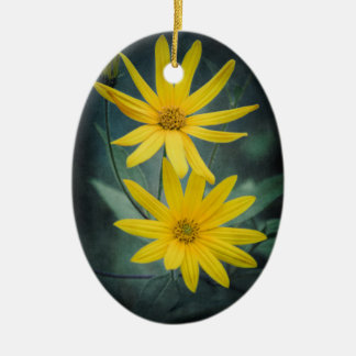 Two yellow flowers of Jerusalem artichoke Ceramic Ornament