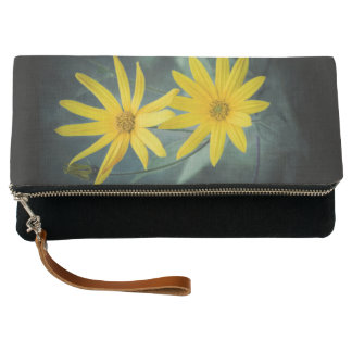 Two yellow flowers of Jerusalem artichoke Clutch