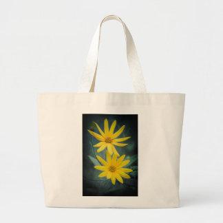 Two yellow flowers of Jerusalem artichoke Large Tote Bag