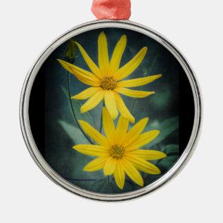Two yellow flowers of Jerusalem artichoke Metal Ornament
