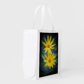 Two yellow flowers of Jerusalem artichoke Reusable Grocery Bag