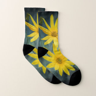 Two yellow flowers of Jerusalem artichoke Socks
