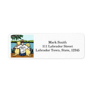 Two Yellow Labradors and Dad Return Address Label