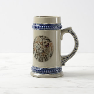 Two Yellow Labs Begging Beer Stein