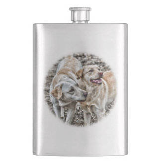 Two Yellow Labs Begging Hip Flask