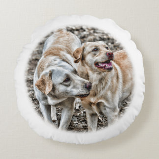 Two Yellow Labs Begging Round Pillow
