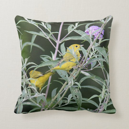 Two Yellow Warblers Throw Pillow