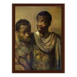 Two Young Africans., Jonge  By Rembrandt Van Rijn Postcard