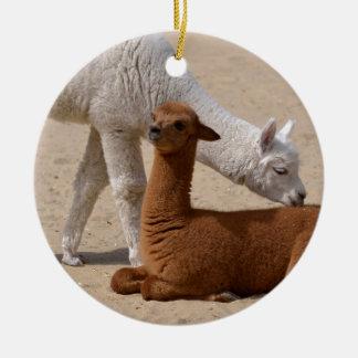 Two young alpacas round ceramic ornament