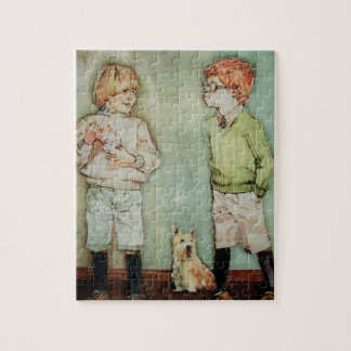 Two Young Boys Puzzle/Jigsaw with Tin Jigsaw Puzzle