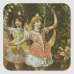 Two young girls perform ballet square sticker
