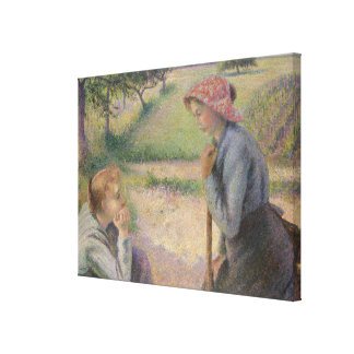 Two Young Peasant Women Canvas Print