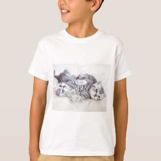Two young shorthair silver tabby cats play lying T-Shirt
