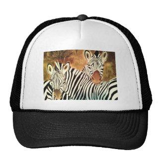 two zebras trucker hats