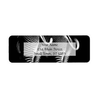Two Zebras in Close Up View From Behind Return Address Label