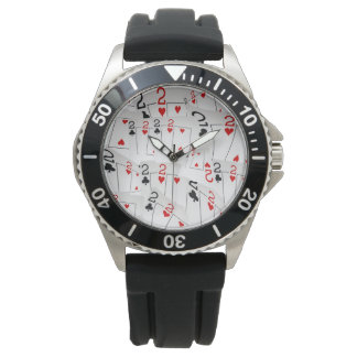 Twos, Poker Card Mens Stainless Steel Rubber Watch