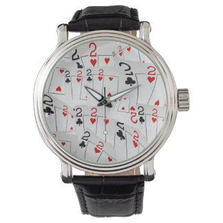 Twos, Poker Cards, Mens, Leather Watch