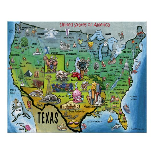 TX USA Map Poster