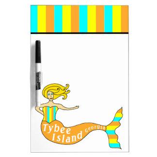 Tybee Island, Georgia Mermaid Dry Erase Whiteboard