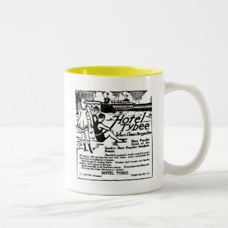 Tybee Island Georgia vintage newspaper illustratio Two-Tone Coffee Mug