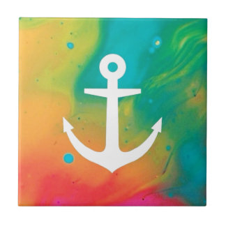 Tye Dye Anchor Design Ceramic Tiles