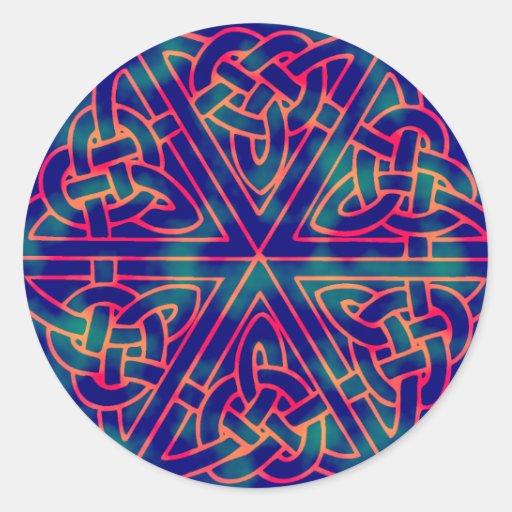 Tye-dye Celtic Knot Round Stickers