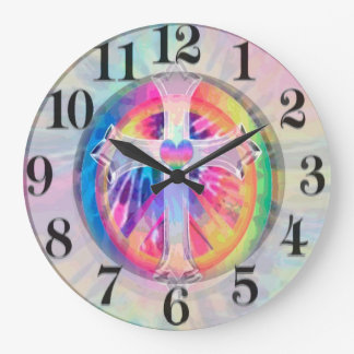 Tye Dye Cross with Heart in Center Large Clock