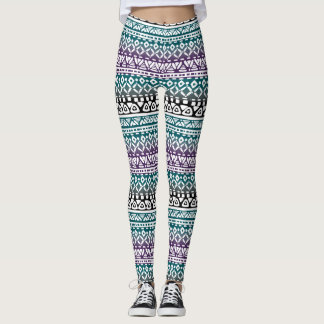 Tye Dye Look tribal Patterned Leggings Teal Purple