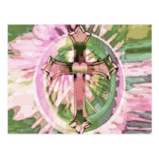 Tye dye rainbow cross with heart by Amelia Carrie. Postcard