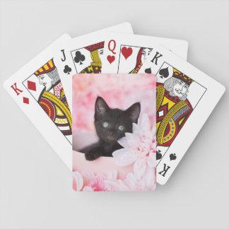 Tye Kitten Pink Floral Playing Cards