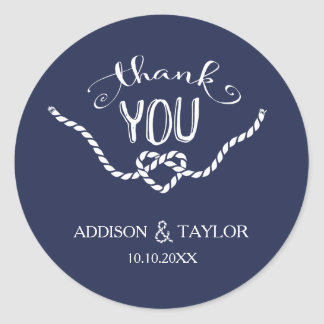Tying the Knot Calligraphy Thank You Classic Round Sticker