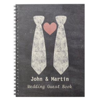 Tying the Knot Chalkboard Gay Wedding Cake Pick Spiral Notebook