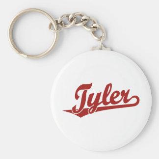Tyler script logo in red keychain