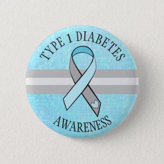 Type 1 Diabetes Awareness Blue Gray Button