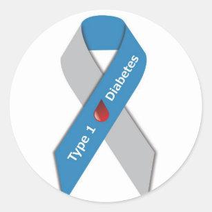 430dccb4be7 Type 1 Diabetes Awareness Ribbon Classic Round Sticker