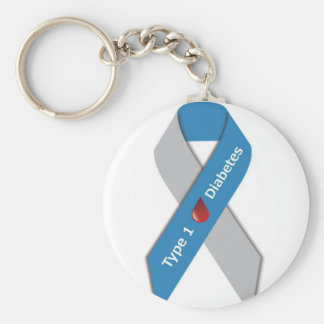 Type 1 Diabetes Awareness Ribbon Keychain