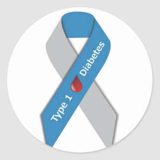 Type 1 Diabetes Awareness Ribbon Round Sticker