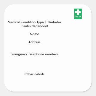 Type 1 diabetes medical alert stickers