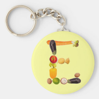 """type character """"E"""" OF fruits and vegetables Key Chains"""