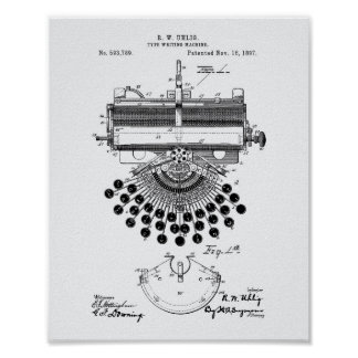 Type Writing Machine 1897 Patent Art White Paper Poster