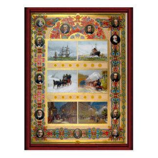 Types vintages de transport carte postale